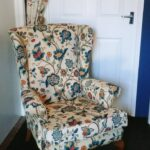Reupholstered Parker Knoll armchair using customer's own fabric, Halesworth